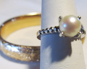 14K white gold Pearl Ring sz 6.5 Solitary Mermaid Pearl Ring 14 kt White Gold Akoya Pearl Ring Cultured Salt Water Pearl Jewelry Pearl Ring