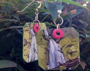 Wahkeena Falls - pdx hand-painted earrings - Portland, Oregon waterfall