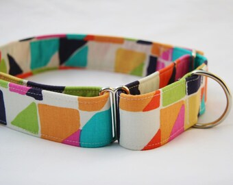 Mod Shapes- Geometric- Martingale  Dog Collar - Pet Collar- Pet Accessories- Supplies- Large Breed Dogs 1.5 and 2 inch Width