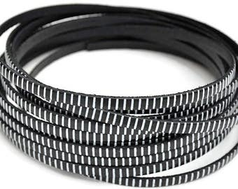 "5MM Flat Black Leather w/whiteStripe - 1M/39.4""  - Black/White - Best Quality European Leather Cord"