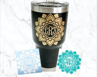Yeti Decal, Yeti Decal for Women, Monogram Decal, Mandala Decal
