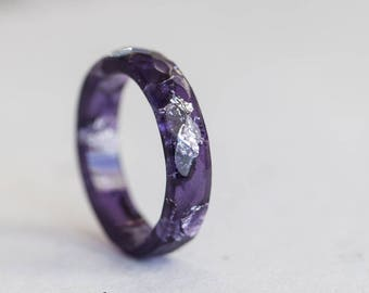 Ultra Violet Resin Ring Stacking Ring Silver Flakes Small Faceted Ring OOAK amethyst purple geometric jewelry