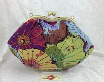 Handmade handbag purse clutch kiss clasp Grace frame bag Philip Jacobs Kaffe Fassett Lotus Leaves