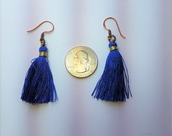 Earrings Cobalt Blue Tassels