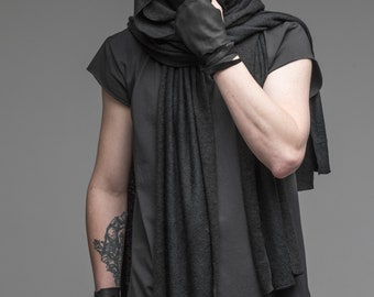 Extra long scarf, mens hooded scarf, black cowl shawl, assassin creed clothing, wrap hood, oversized collar, cosplay scarf steampunk A0102