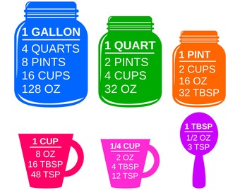 Colorful Measuring Cups SVG and Printable Kitchen Conversion Chart Clipart PDF, Measuring Cups and Spoons SVG, Kitchen svg files for Cricut