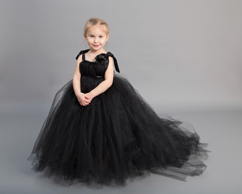 Flower girl dress tulle flower girl dress black dress zoom ombrellifo Choice Image