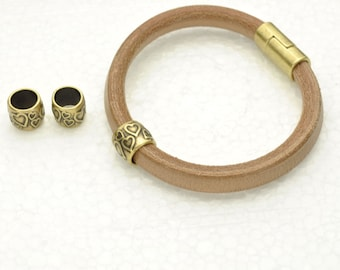 2 Heart Tubes - Antique Brass - fits Licorice Leather or Round Leather Cord up to 10MM