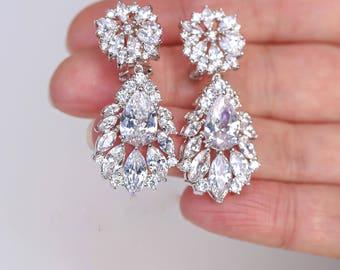 Art Deco Earrings , Vintage Style Zircon Earrings, Bridal Earrings, Wedding Earrings,  Crystal  Drop Earrings,  Stud Earrings , Bridesmaid