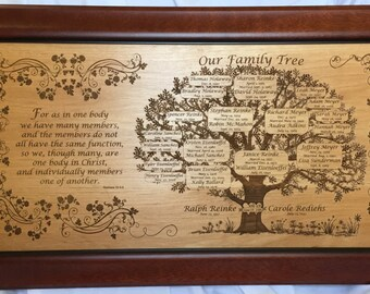 Honor Your Ancestors with a Family Tree for the Whole Family- Large, Framed Custom Laser Engraved- a Gift to be Treasured for Generations!