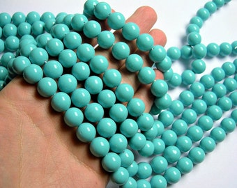 Pearl  12 mm round  Turquoise Pearl  16 inch strand  33 beads - SPT47 - Shell pearl