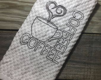 Kitchen Towel, Tea Towel, Coffee Towel, Embroidered Towel, Cotton Towel, Hand Towel