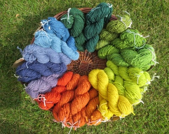 Naturally dyed double knit weight  pure wool yarn with an almost perle twist in 60 metre skeins