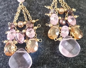 Rose quartz, pink tourmaline, champagne cz earrings