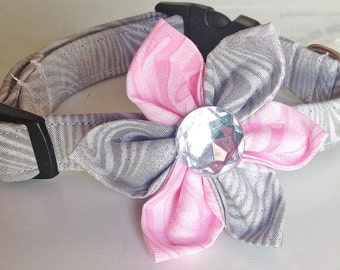 Gray & Pink Flower Collar for Dogs and Cats