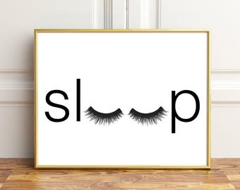 Bedroom Wall Decor, Sleep Wall Art, Bedroom Minimalist Poster, Eyelashes  Wall Art,