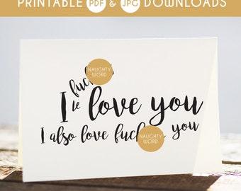 i love you card, funny i love you card, printable i love you card, sarcastic i love you card, fucking love you card