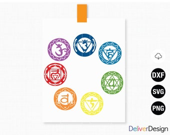 Chakra SVG, 7 Chakra Set, Chakras, Spiritual, Meditation, Reiki, Healing, Yoga, Cricut Cut File, Silhouette Cut file, Chakra Png, Ckakra dxf