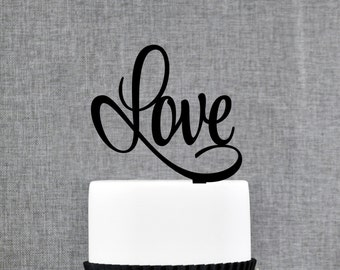 Script LOVE Wedding Cake Topper, Romantic Wedding Cake Decoration in your Choice of Color, Modern and Elegant Wedding Cake Toppers - (T206)