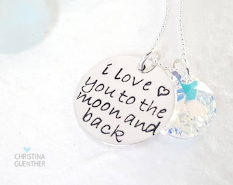 I Love You To The Moon and Back | Sterling Silver Circle Necklace Hand Stamped Personalized Jewelry | Gift for Her Mom Daughter Niece Wife