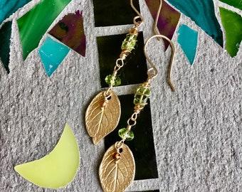 Hand Made Earrings, Rose leaf Earrings, Gemstone Earrings, Peridot Earrings, Gold Earrings, August Birthstone Earrings