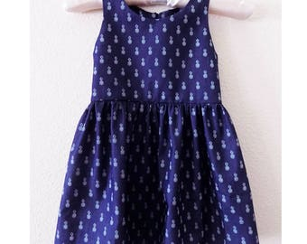 Handmade Denim Stretch Chambray Shirting Pineapple Print on Blue Dress, Size 3T