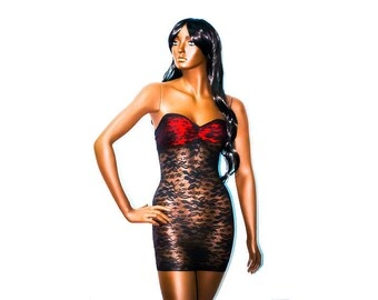 New Exotic Dancewear stripperwear short Black/Red Lace tube Dress