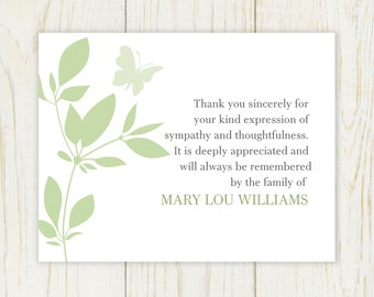 Butterfly Funeral Thank You Card - Digital file -sympathy thank you note bereavement note