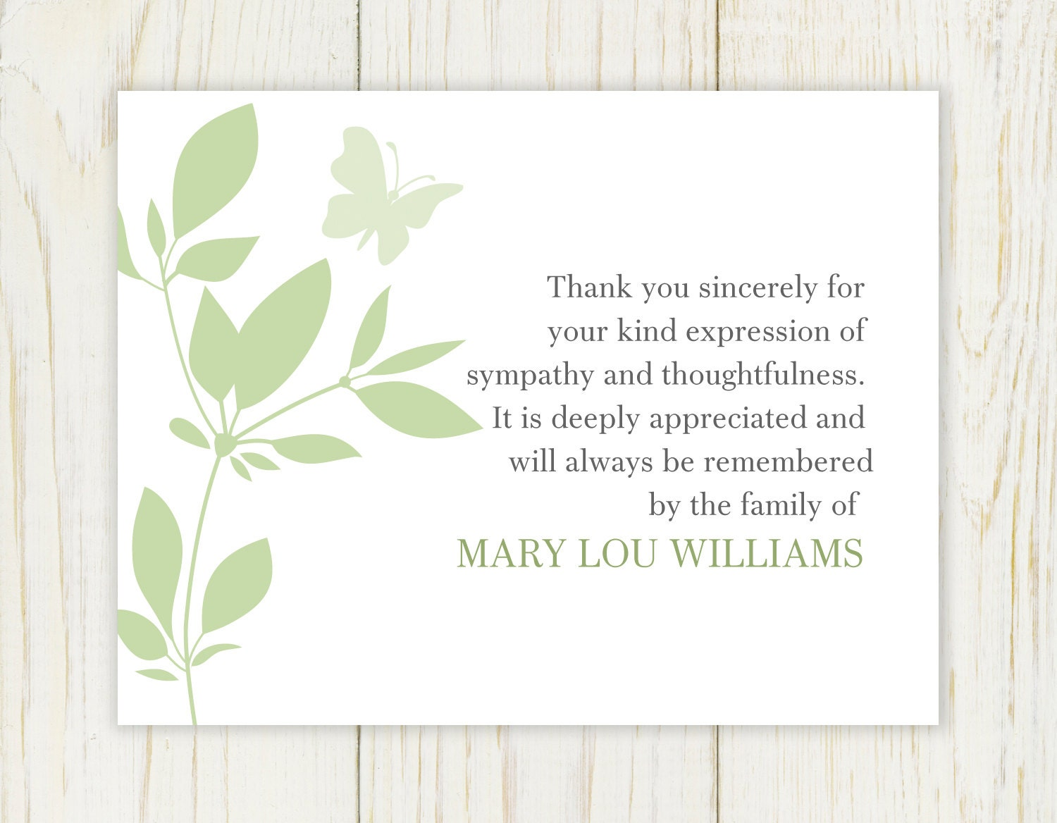 Butterfly funeral thank you card digital file sympathy zoom altavistaventures Gallery
