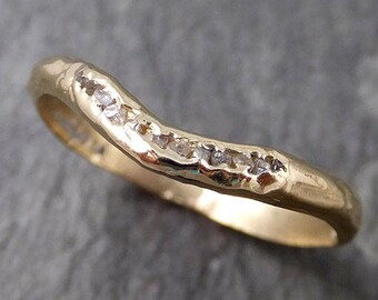 CUSTOM Raw Rough Uncut Diamond Contour Curved Wedding Band 14k Gold Wedding Ring c0835