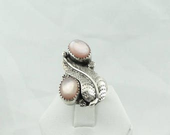"""Unique Signed """"N"""" With a Bear Paw Hallmark Southwest Native American Sterling Silver and Pink Mother-of-Pearl Ring #BEARPAW-SR1"""
