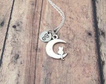 Moon cat initial necklace - moon cat jewelry, moon necklace, silver cat pendant, moon jewelry, silver moon pendant, moon cat necklace
