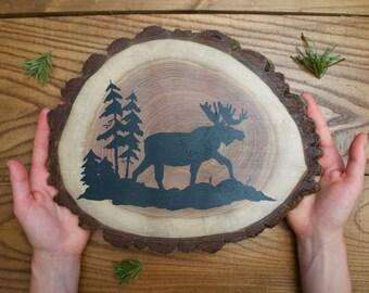 MOOSE WALL ART  - hand painted moose silhouette on wood slab