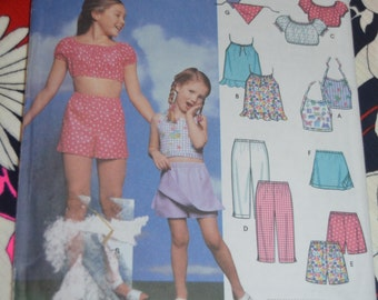 SImplicity 9797 Child and Girls Tops Pants Shorts Skort and Scarf Sewing Pattern - UNCUT - Size 3 4 5 6