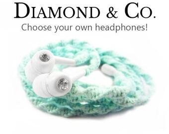 Wrapped Headphones - Custom Tangle Free Aqua Mint Earphones - iPhone 8 Earpods, Android Headphones - Wedding Bride Bridesmaids Gift For Her