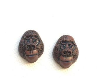Gorilla Earrings, Animal Earrings, Gorilla Stud Earrings, Jungle Animal, Wild, Post