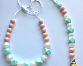 Chic Silicone Hexagon Necklace & Paci Clip Set-Mint