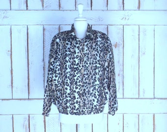 Vintage brown/black leopard print silk  windbreaker jogging puffer jacket/silk sports jacket/animal print flight bomber jacket/medium