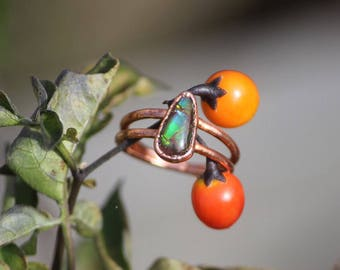 Ammolite Ring with Double Band //Crystal Ring //Natural Ammolite // Electroformed Copper Jewelry //