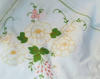 Vintage floral with Cluny Lace Tablecloth Shabby Chic Cottage Chic Home Decor Tablecloth