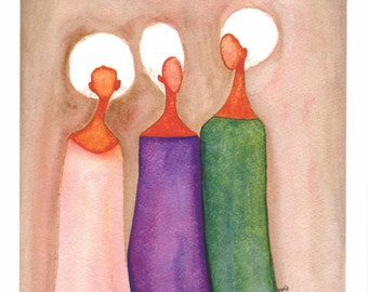 African American Artwork Print 'Gathering', A4 Size, Unframed