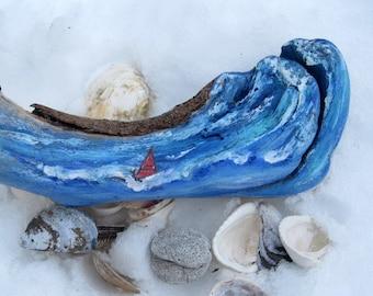 Painted Surfer on Driftwood, Driftwood Display, Coastal Decorating, Organic Driftwood, Lake Art, by gardenstones on etsy