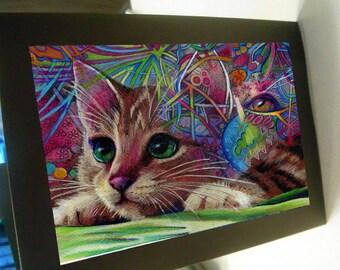 greeting card print of original art- mom cat  Zentangle
