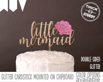 little mermaid cake topper,baby shower cake topper, kids birthday, Glitter party decorations, cursive topper