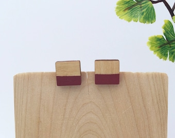 Stud earrings - wood studs - wood earrings - minimalist jewelry - green earrings - geometric earrings - nature lover gift -