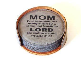 Christian Gift for Mom - Mothers Day Gifts - Mom Coasters - Proverb 31 30 - Mother's Day Gift from Daughter-Son, CAS013