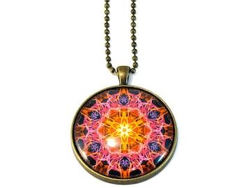 Fiery Boho Necklace Pendant, Mandala Necklace,  Mandala Jewelry, Chakra Jewelry, New Age, LARGE