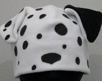 Dalmatian Fleece Hat - WHITE & BLACK