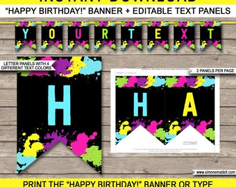 Neon Glow Party Banner - Happy Birthday Banner - Custom Banner - Neon Glow Party Decorations - Bunting - INSTANT DOWNLOAD with EDITABLE text