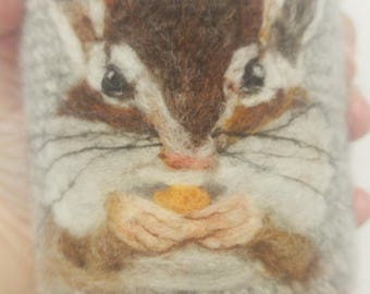 Felted chipmunk can cozy